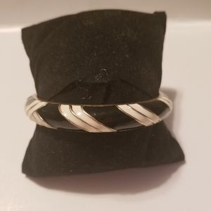 J. Crew Black white and goldtone Bangle Bracelet